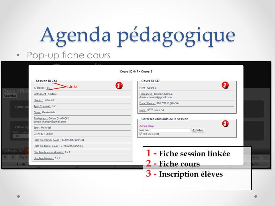 Agenda pédagogique Pop-up fiche cours