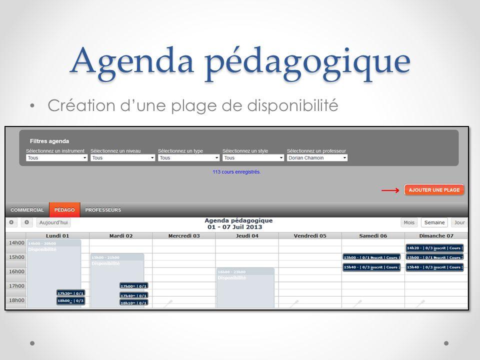Agenda pédagogique Création d'une plage de disponibilité