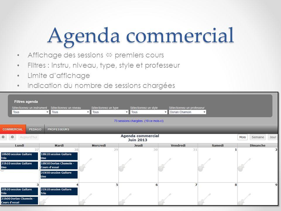Agenda commercial Pop-up fiche session