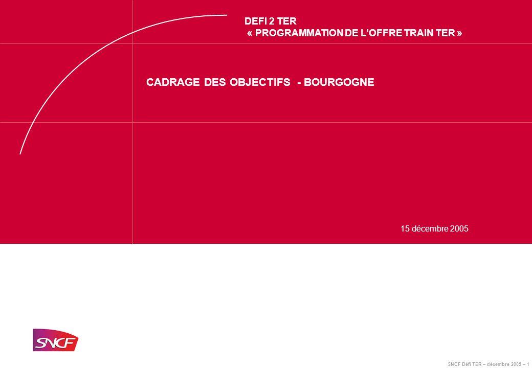 SNCF Défi TER – décembre 2005 – 1 DEFI 2 TER « PROGRAMMATION DE L'OFFRE TRAIN TER » CADRAGE DES OBJECTIFS - BOURGOGNE 15 décembre 2005