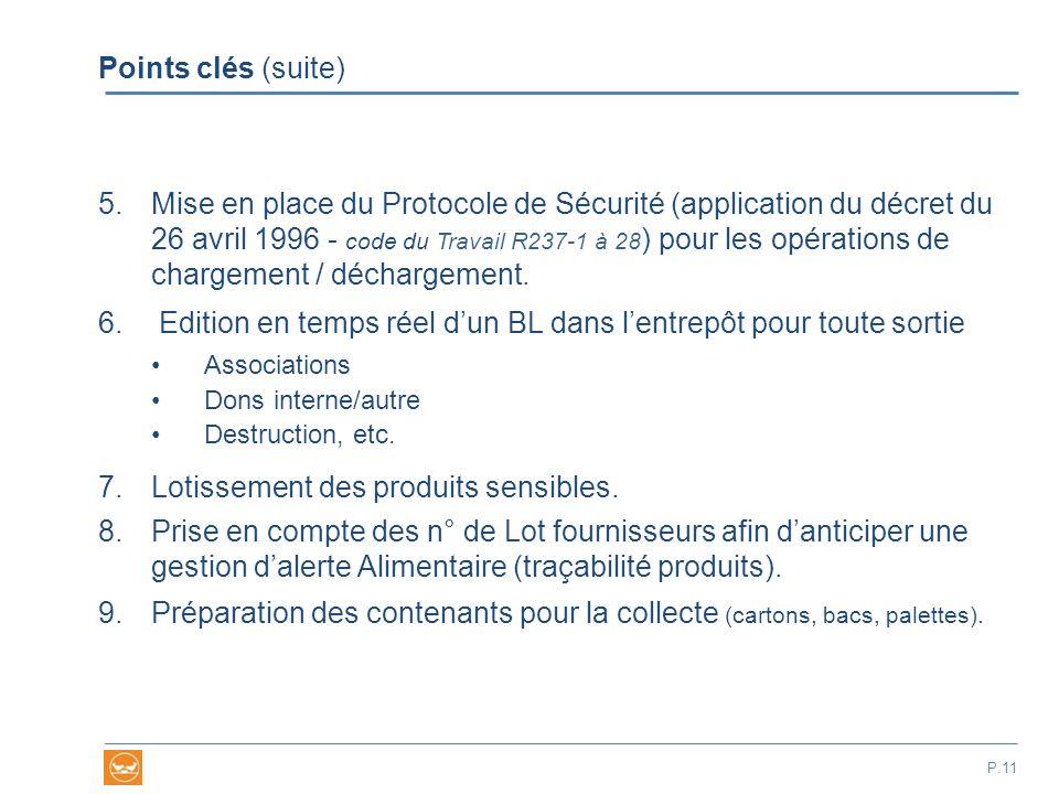 Points clés (suite) 5.Mise en place du Protocole de Sécurité (application du décret du 26 avril 1996 - code du Travail R237-1 à 28 ) pour les opératio
