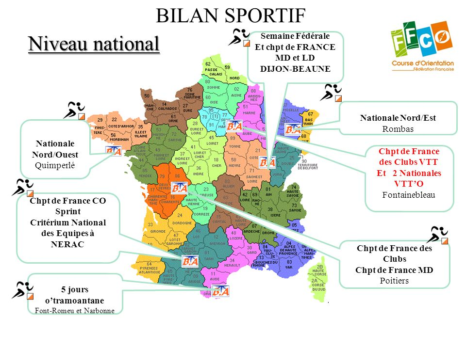 Niveau national BILAN SPORTIF Chpt de France CO Sprint Critérium National des Equipes à NERAC Chpt de France des Clubs Chpt de France MD Poitiers Nati