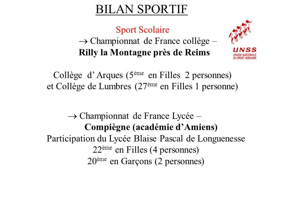 BILAN SPORTIF Sport Scolaire  Championnat de France collège – Rilly la Montagne près de Reims Collège d' Arques (5 ème en Filles 2 personnes) et Coll