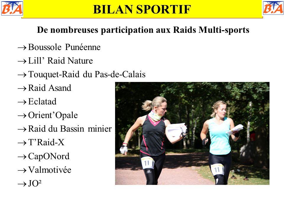 BILAN SPORTIF De nombreuses participation aux Raids Multi-sports  Boussole Punéenne  Lill' Raid Nature  Touquet-Raid du Pas-de-Calais  Raid Asand