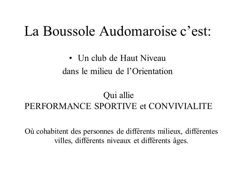 BILAN MORAL Grâce : -Aux 78 licenciés en 2013 -Aux 47 personnes ayant marqué des points (CN) (rappel: 4 courses pédestres et 3 VTT'O) mais Uniquement 9 en VTT'O La Boussole Audomaroise est 23 ème Club Français sur 188 2 ème club de la Ligue et 1 er club du département La BA en 2013, c'est 30 victoires et + de 100 podiums