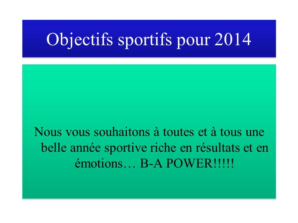 Objectifs sportifs pour 2014 Nous vous souhaitons à toutes et à tous une belle année sportive riche en résultats et en émotions… B-A POWER!!!!!