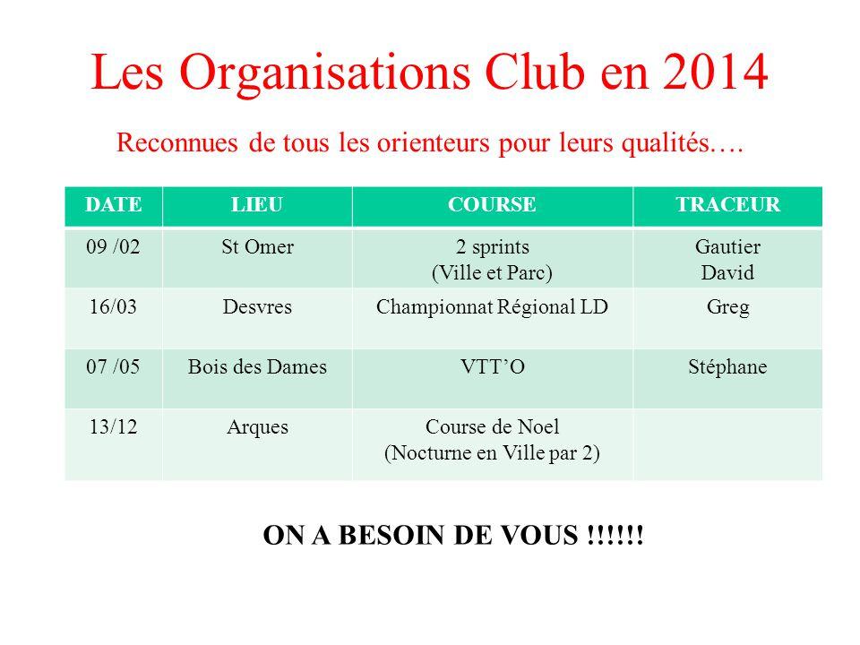 Les Organisations Club en 2014 DATELIEUCOURSETRACEUR 09 /02St Omer2 sprints (Ville et Parc) Gautier David 16/03DesvresChampionnat Régional LDGreg 07 /