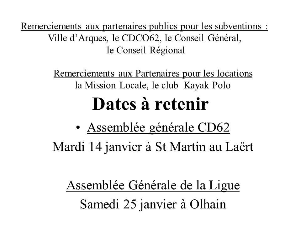 Dates à retenir Assemblée générale CD62 Mardi 14 janvier à St Martin au Laërt Assemblée Générale de la Ligue Samedi 25 janvier à Olhain Remerciements