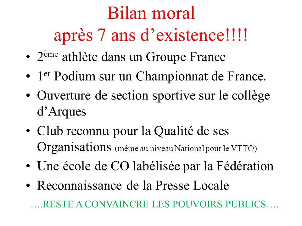 Bilan moral après 7 ans d'existence!!!! 2 ème athlète dans un Groupe France 1 er Podium sur un Championnat de France. Ouverture de section sportive su