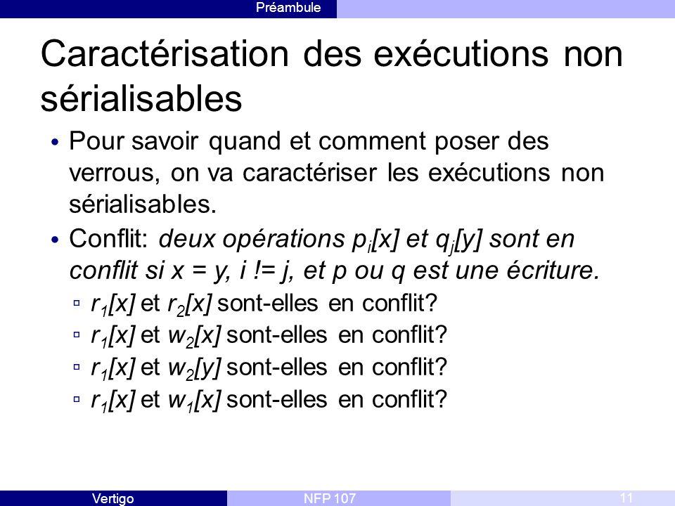 Préambule NFP 107Vertigo Caractérisation des exécutions non sérialisables Pour savoir quand et comment poser des verrous, on va caractériser les exécutions non sérialisables.