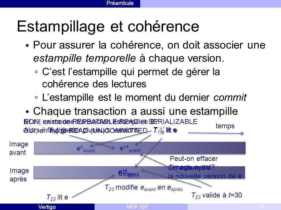 Préambule NFP 107Vertigo Estampillage et cohérence Pour assurer la cohérence, on doit associer une estampille temporelle à chaque version.