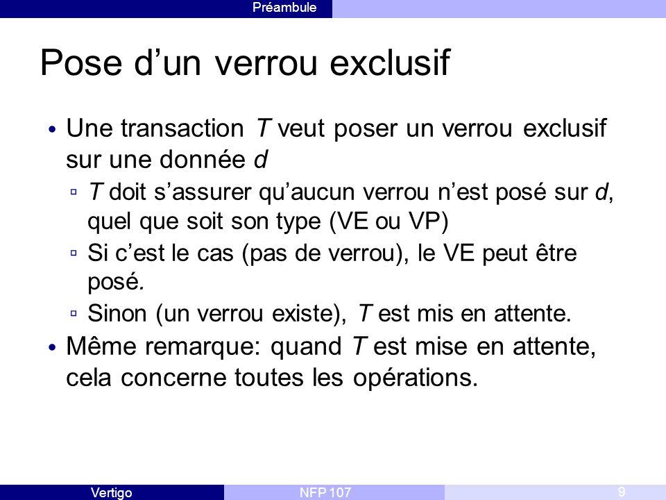 Préambule NFP 107Vertigo Pose d'un verrou exclusif Une transaction T veut poser un verrou exclusif sur une donnée d ▫ T doit s'assurer qu'aucun verrou n'est posé sur d, quel que soit son type (VE ou VP) ▫ Si c'est le cas (pas de verrou), le VE peut être posé.