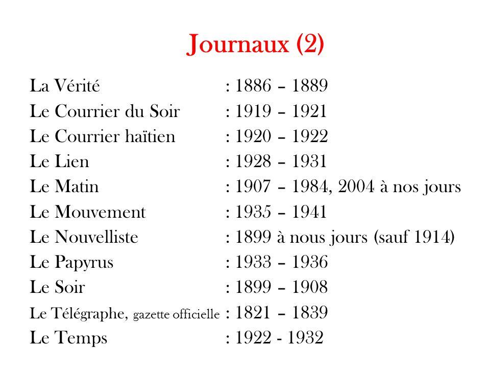 Journaux (2) La Vérité: 1886 – 1889 Le Courrier du Soir: 1919 – 1921 Le Courrier haïtien: 1920 – 1922 Le Lien: 1928 – 1931 Le Matin : 1907 – 1984, 200