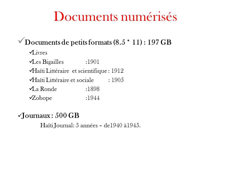 Documents numérisés Documents de petits formats (8.5 * 11) : 197 GB Livres Les Bigailles:1901 Haïti Littéraire et scientifique : 1912 Haïti Littéraire et sociale: 1905 La Ronde:1898 Zobope:1944 Journaux : 500 GB Haïti Journal: 5 années – de1940 à1945.