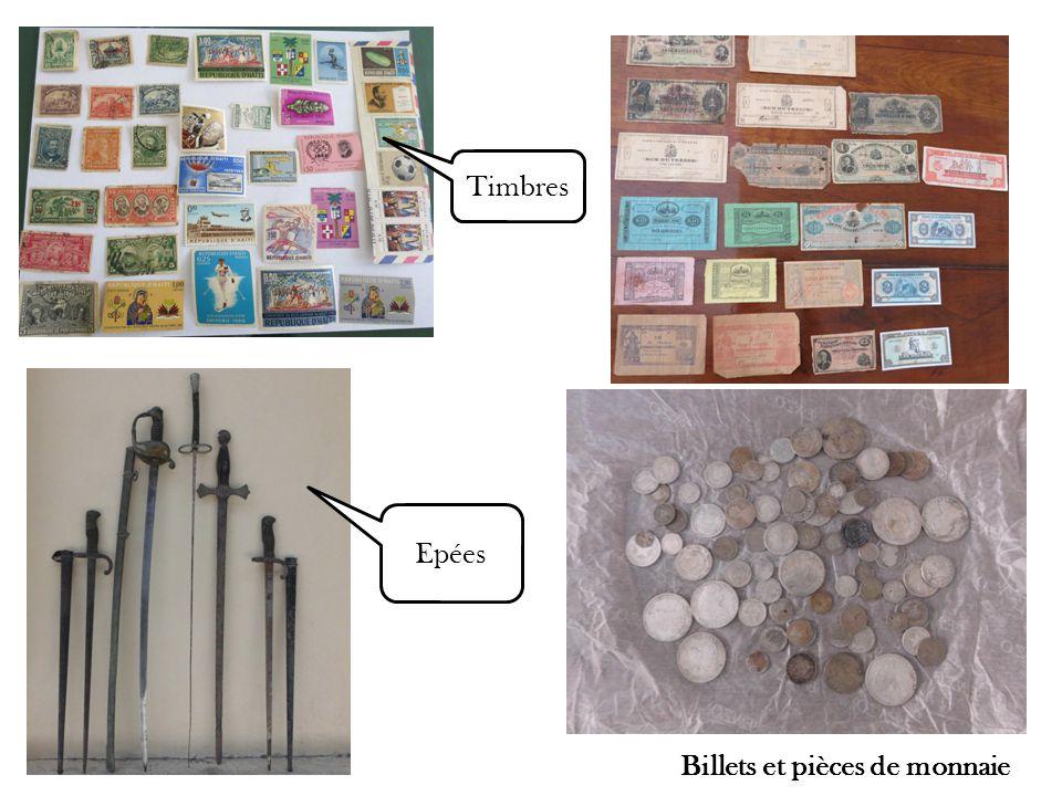 Billets et pièces de monnaie Epées Timbres