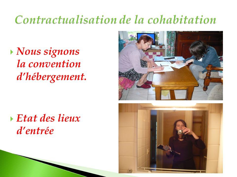  Nous signons la convention d'hébergement.  Etat des lieux d'entrée