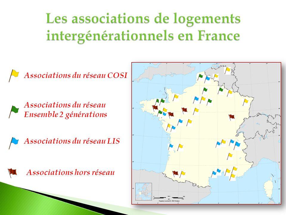 Associations du réseau Ensemble 2 générations Associations du réseau LIS Associations hors réseau Associations du réseau COSI