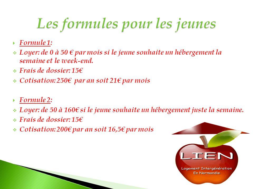  Formule 1:  Loyer: de 0 à 50 € par mois si le jeune souhaite un hébergement la semaine et le week-end.  Frais de dossier: 15€  Cotisation: 250€ p