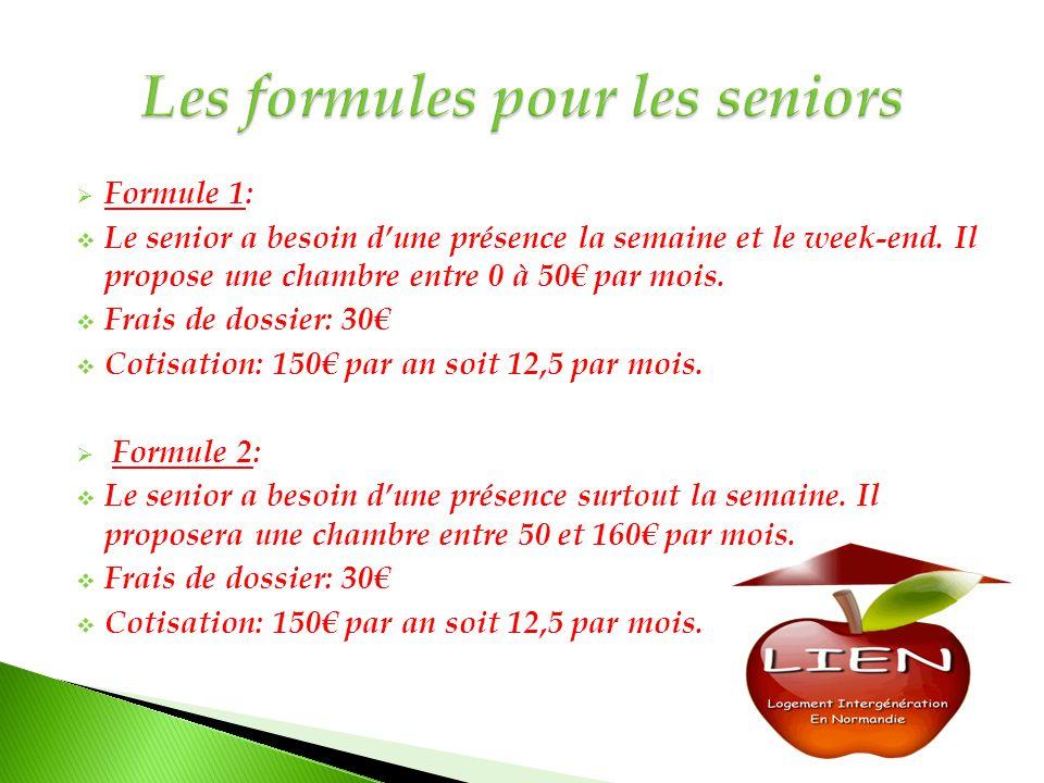  Formule 1:  Le senior a besoin d'une présence la semaine et le week-end. Il propose une chambre entre 0 à 50€ par mois.  Frais de dossier: 30€  C
