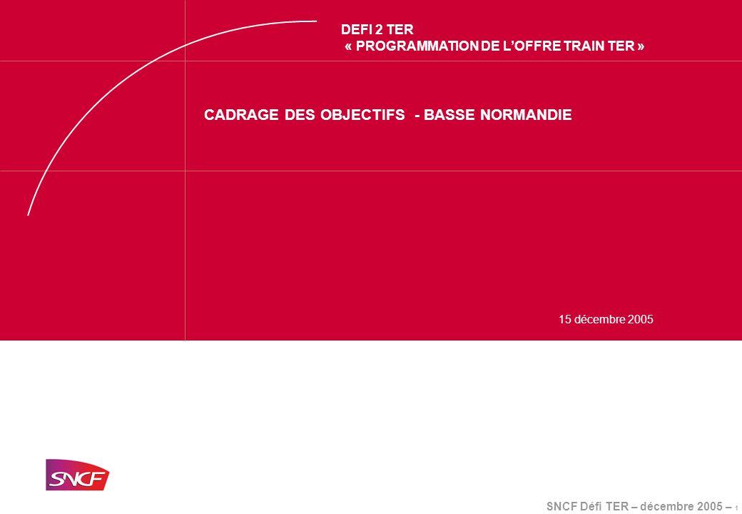 SNCF Défi TER – décembre 2005 – 1 DEFI 2 TER « PROGRAMMATION DE L'OFFRE TRAIN TER » CADRAGE DES OBJECTIFS - BASSE NORMANDIE 15 décembre 2005