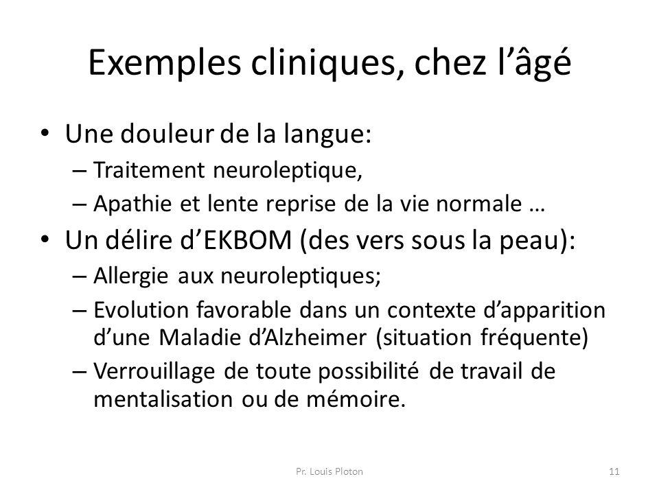 Exemples cliniques, chez l'âgé Une douleur de la langue: – Traitement neuroleptique, – Apathie et lente reprise de la vie normale … Un délire d'EKBOM
