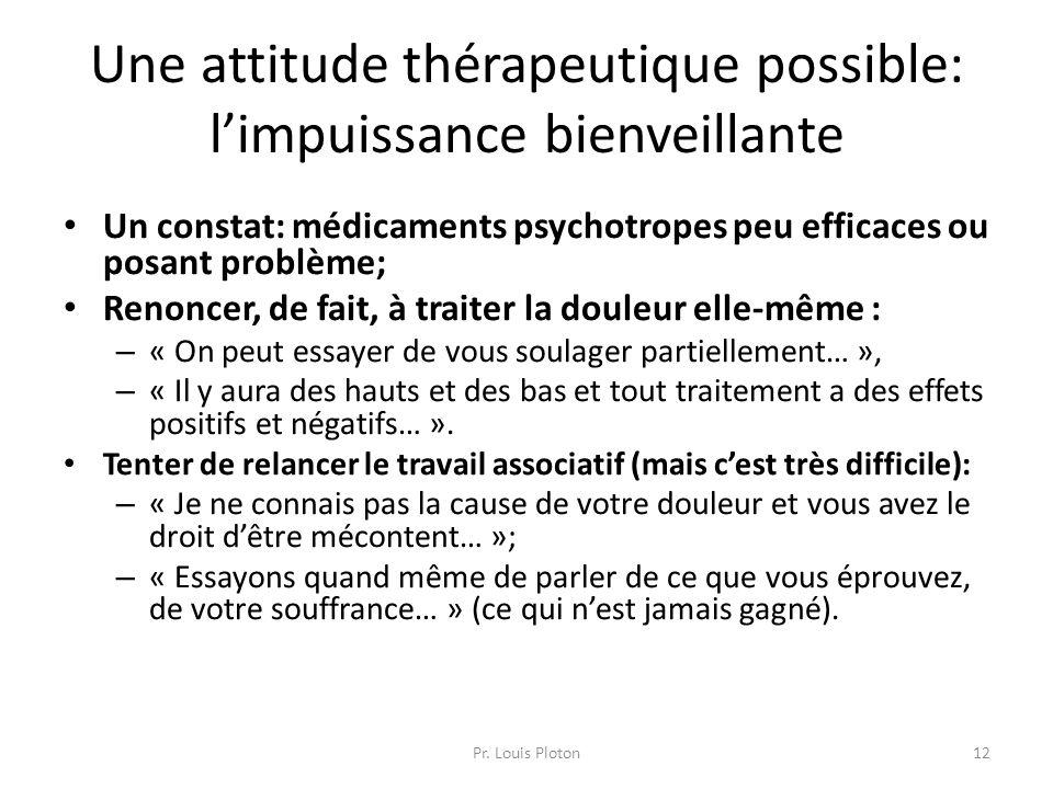 Une attitude thérapeutique possible: l'impuissance bienveillante Un constat: médicaments psychotropes peu efficaces ou posant problème; Renoncer, de f