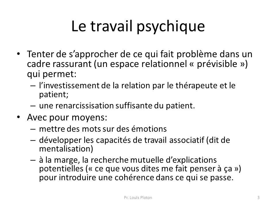 Le travail psychique Tenter de s'approcher de ce qui fait problème dans un cadre rassurant (un espace relationnel « prévisible ») qui permet: – l'inve