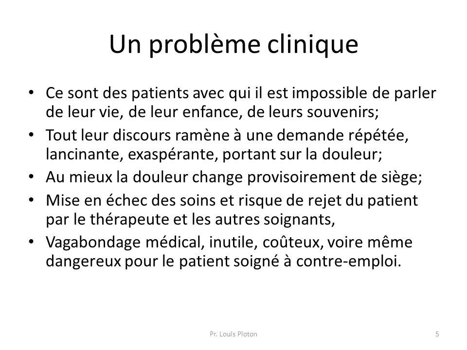Un problème clinique Ce sont des patients avec qui il est impossible de parler de leur vie, de leur enfance, de leurs souvenirs; Tout leur discours ra