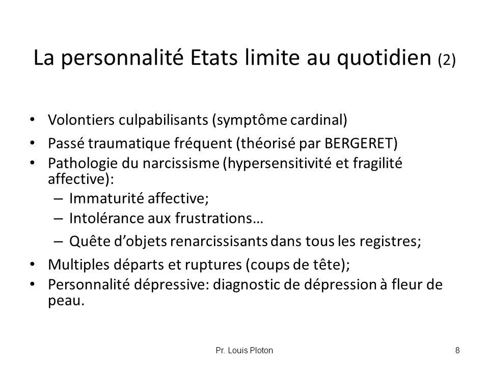 La personnalité Etats limite au quotidien (2) Volontiers culpabilisants (symptôme cardinal) Passé traumatique fréquent (théorisé par BERGERET) Patholo