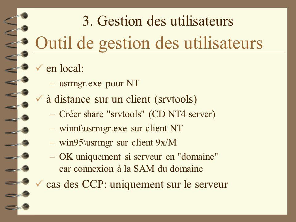 3. Gestion des utilisateurs Outil de gestion des utilisateurs en local: –usrmgr.exe pour NT à distance sur un client (srvtools) –Créer share