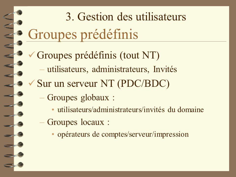 3. Gestion des utilisateurs Groupes prédéfinis Groupes prédéfinis (tout NT) –utilisateurs, administrateurs, Invités Sur un serveur NT (PDC/BDC) –Group