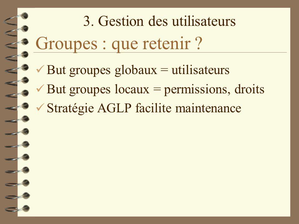 3. Gestion des utilisateurs Groupes : que retenir ? But groupes globaux = utilisateurs But groupes locaux = permissions, droits Stratégie AGLP facilit