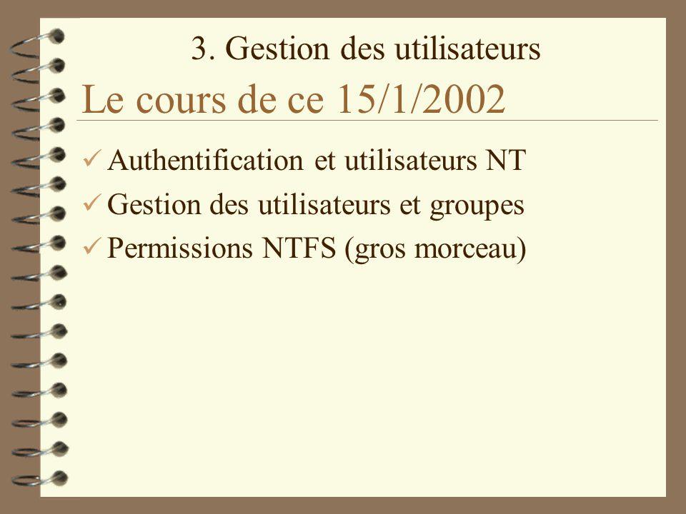 3. Gestion des utilisateurs Le cours de ce 15/1/2002 Authentification et utilisateurs NT Gestion des utilisateurs et groupes Permissions NTFS (gros mo