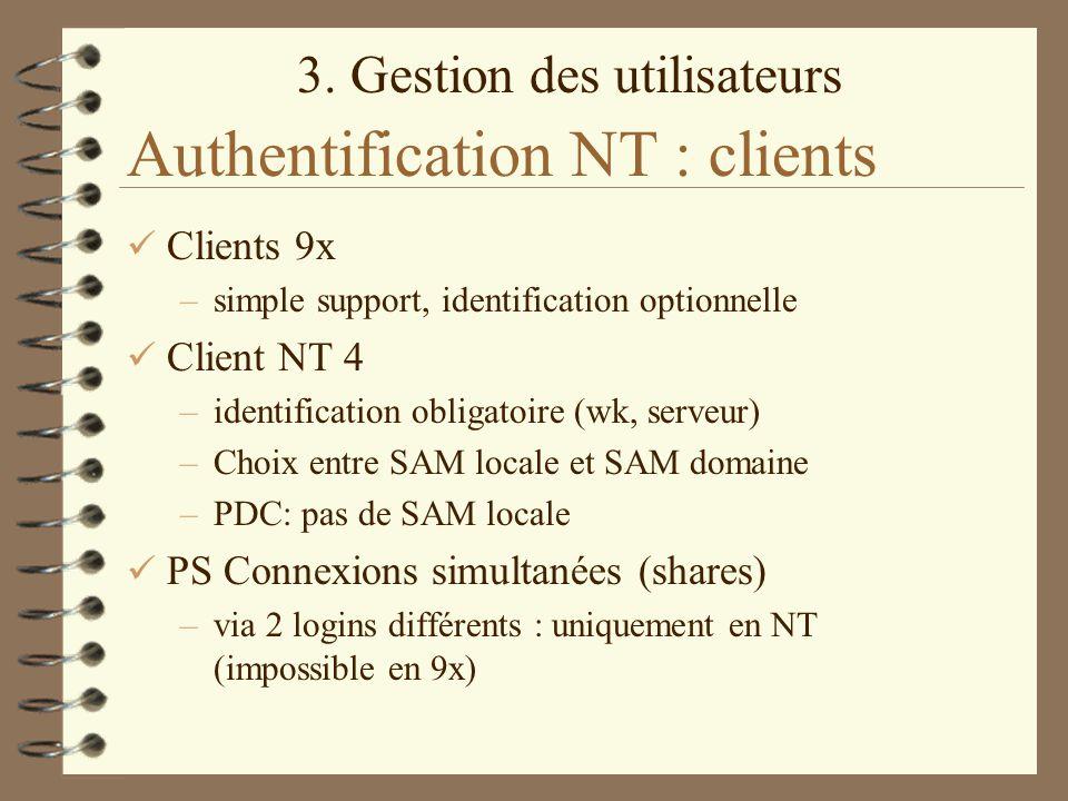 3. Gestion des utilisateurs Authentification NT : clients Clients 9x –simple support, identification optionnelle Client NT 4 –identification obligatoi