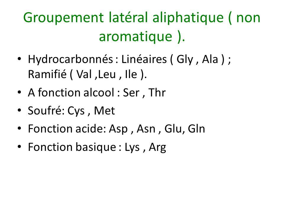 Groupement latéral aliphatique ( non aromatique ). Hydrocarbonnés : Linéaires ( Gly, Ala ) ; Ramifié ( Val,Leu, Ile ). A fonction alcool : Ser, Thr So