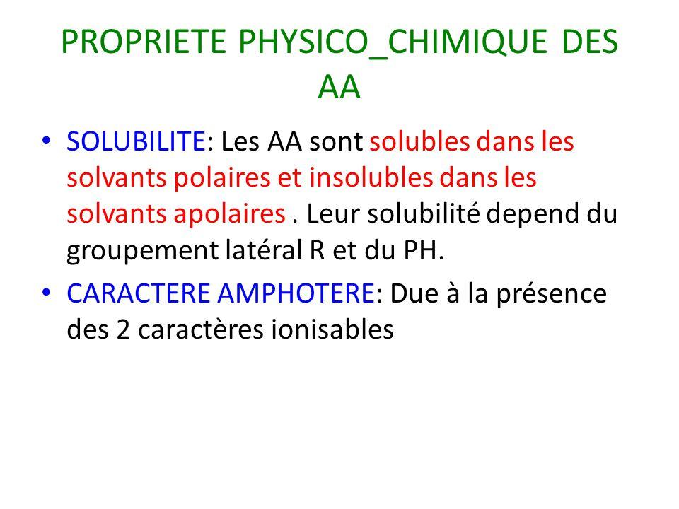 PROPRIETE PHYSICO_CHIMIQUE DES AA SOLUBILITE: Les AA sont solubles dans les solvants polaires et insolubles dans les solvants apolaires. Leur solubili