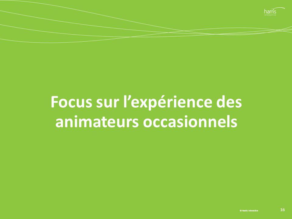 Focus sur l'expérience des animateurs occasionnels 16 © Harris Interactive