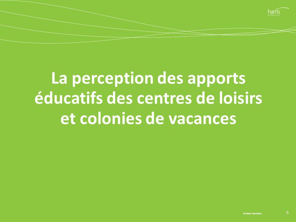 La perception des apports éducatifs des centres de loisirs et colonies de vacances 5 © Harris Interactive