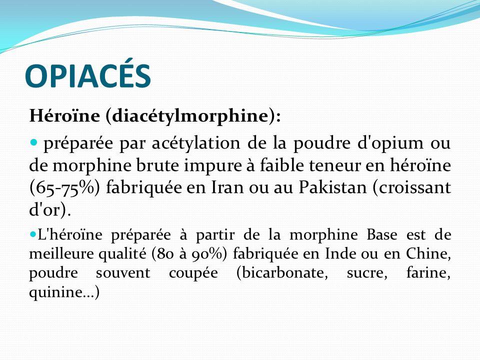 OPIACÉS Héroïne (diacétylmorphine): préparée par acétylation de la poudre d'opium ou de morphine brute impure à faible teneur en héroïne (65-75%) fabr
