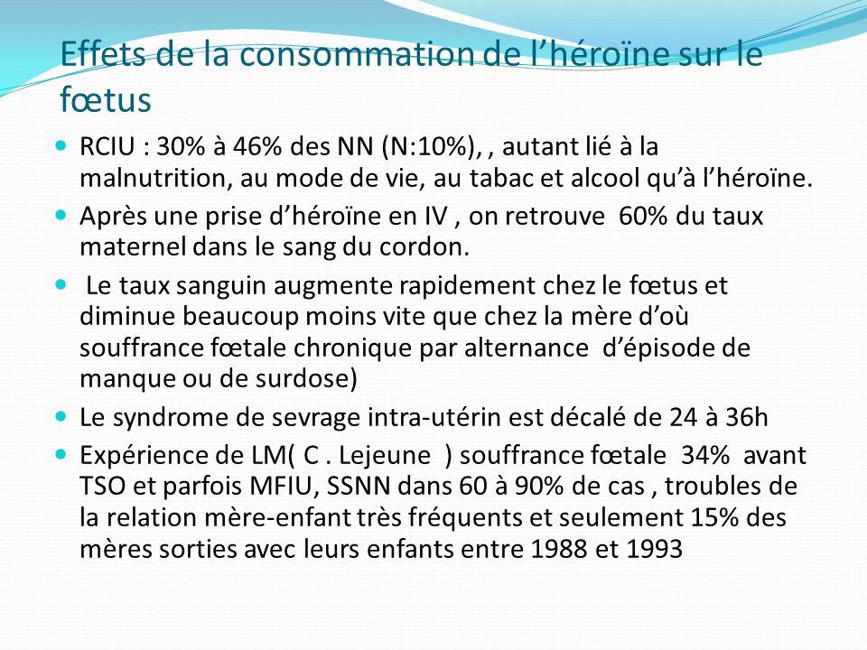 Effets de la consommation de l'héroïne sur le fœtus RCIU : 30% à 46% des NN (N:10%),, autant lié à la malnutrition, au mode de vie, au tabac et alcool
