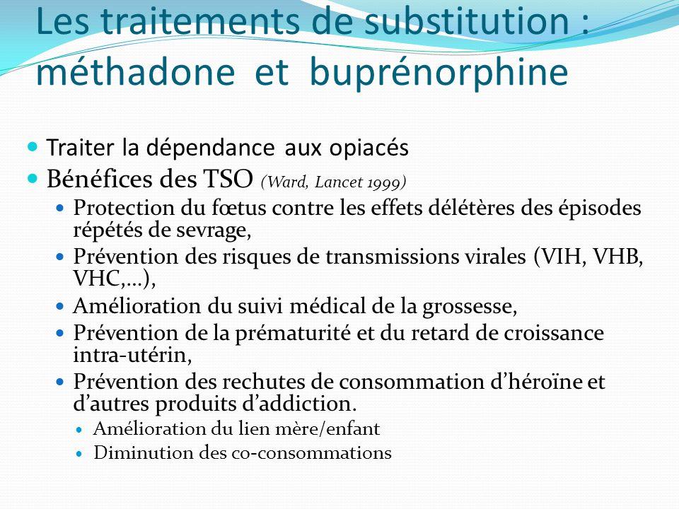 Les traitements de substitution : méthadone et buprénorphine Traiter la dépendance aux opiacés Bénéfices des TSO (Ward, Lancet 1999) Protection du fœt