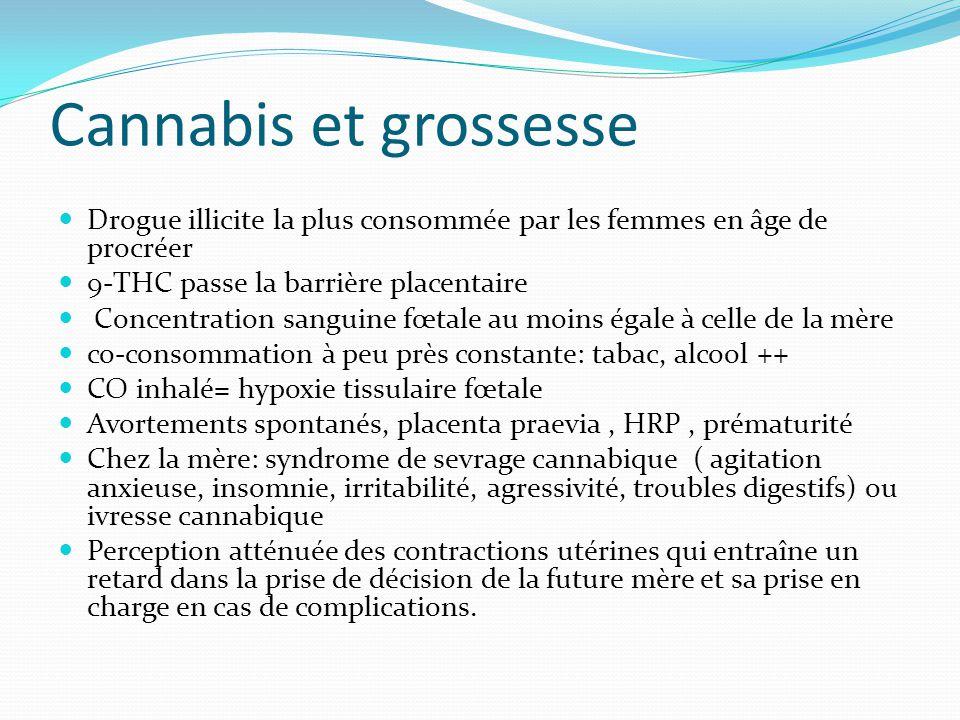 Cannabis et grossesse Drogue illicite la plus consommée par les femmes en âge de procréer 9-THC passe la barrière placentaire Concentration sanguine f