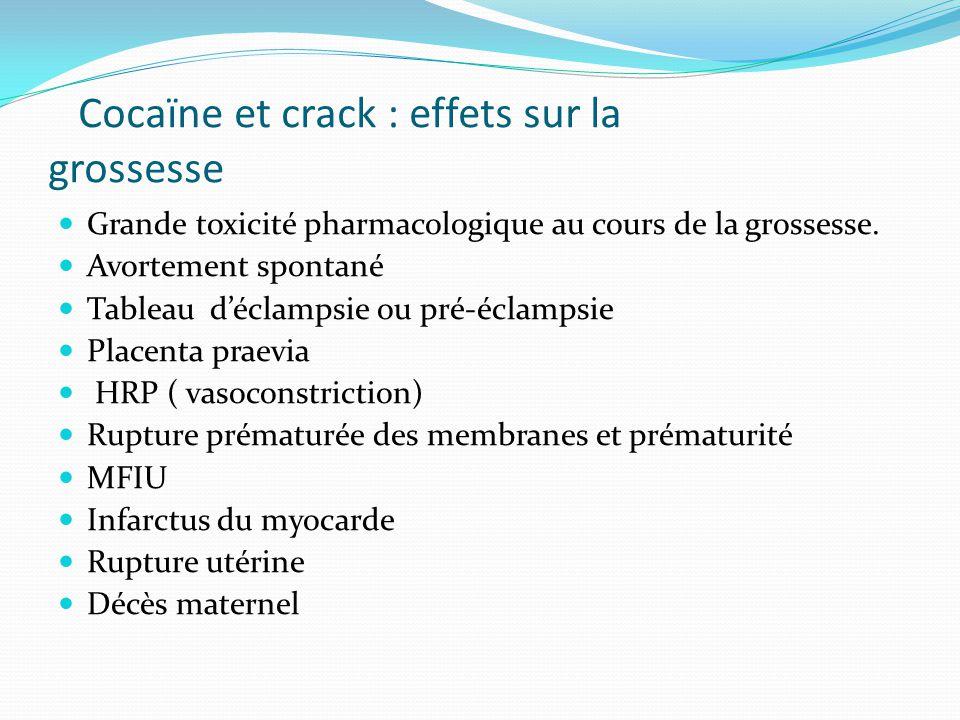 Cocaïne et crack : effets sur la grossesse Grande toxicité pharmacologique au cours de la grossesse. Avortement spontané Tableau d'éclampsie ou pré-éc