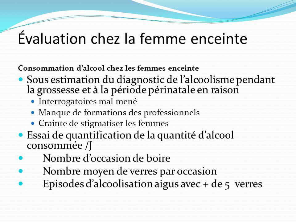 Évaluation chez la femme enceinte Consommation d'alcool chez les femmes enceinte Sous estimation du diagnostic de l'alcoolisme pendant la grossesse et