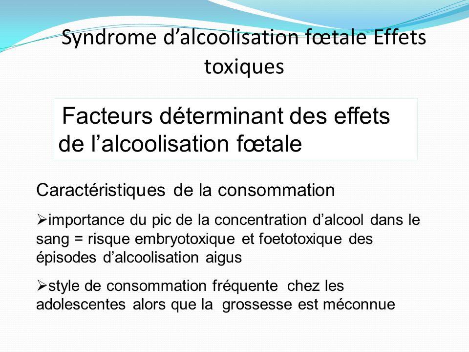 Caractéristiques de la consommation  importance du pic de la concentration d'alcool dans le sang = risque embryotoxique et foetotoxique des épisodes