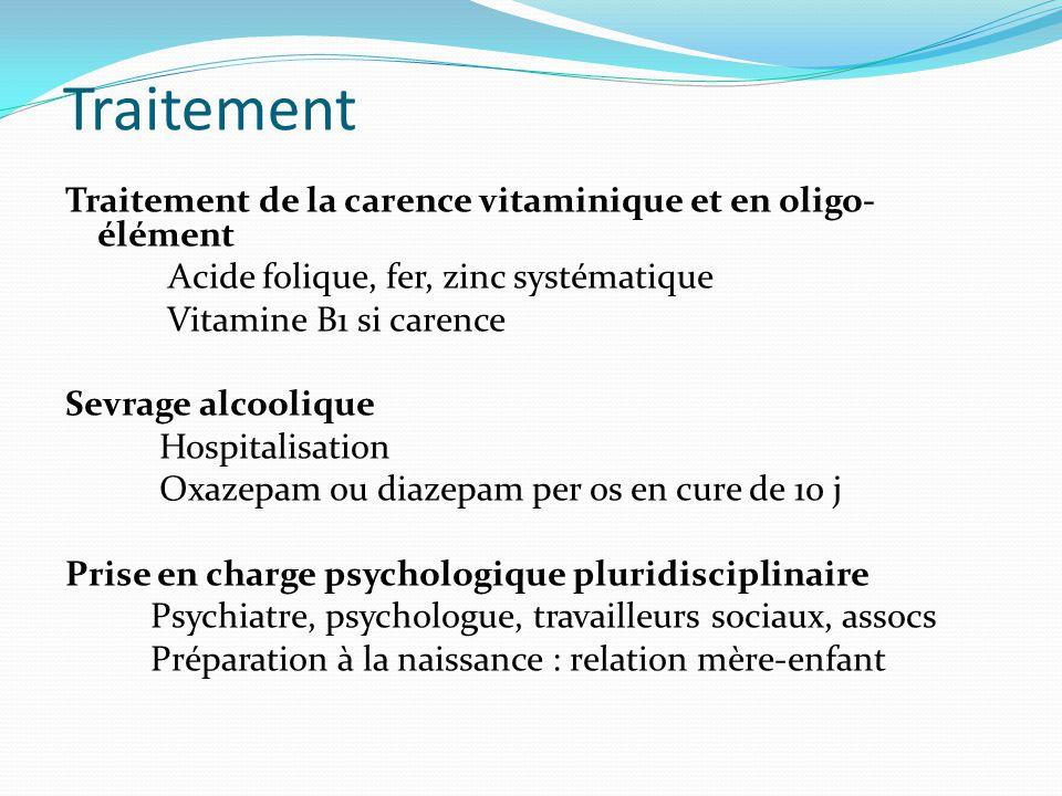 Traitement Traitement de la carence vitaminique et en oligo- élément Acide folique, fer, zinc systématique Vitamine B1 si carence Sevrage alcoolique H