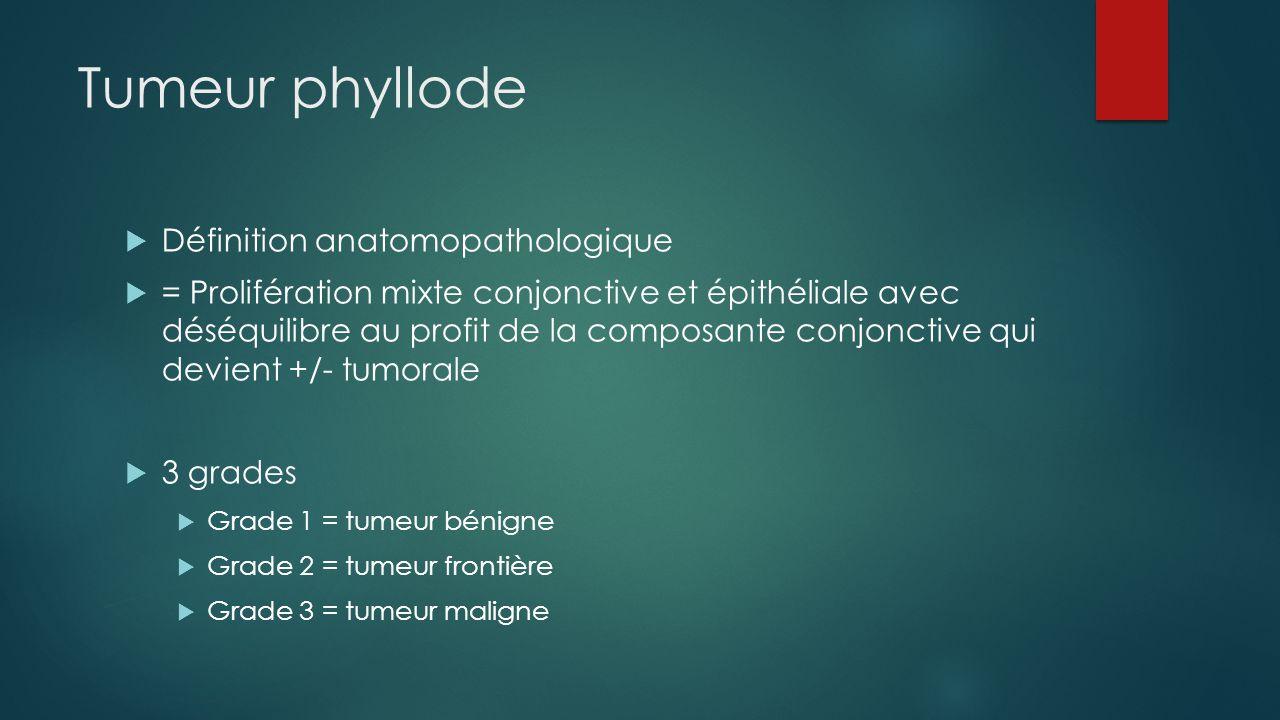 Tumeur phyllode  Définition anatomopathologique  = Prolifération mixte conjonctive et épithéliale avec déséquilibre au profit de la composante conjo