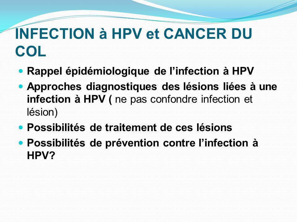 INFECTION à HPV et CANCER DU COL Rappel épidémiologique de l'infection à HPV Approches diagnostiques des lésions liées à une infection à HPV ( ne pas