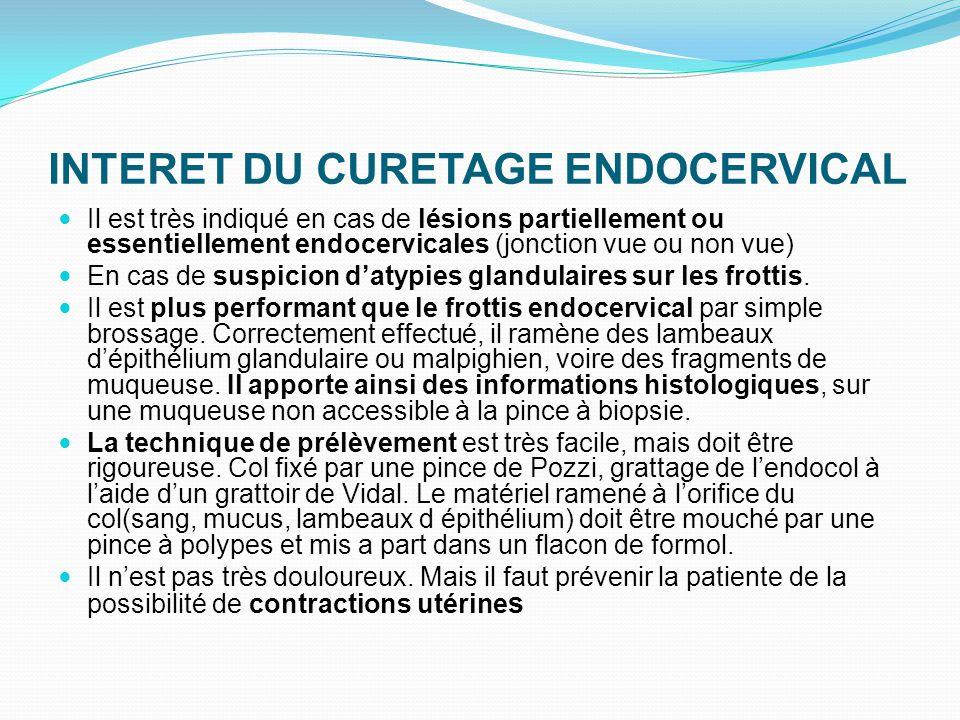 INTERET DU CURETAGE ENDOCERVICAL Il est très indiqué en cas de lésions partiellement ou essentiellement endocervicales (jonction vue ou non vue) En ca