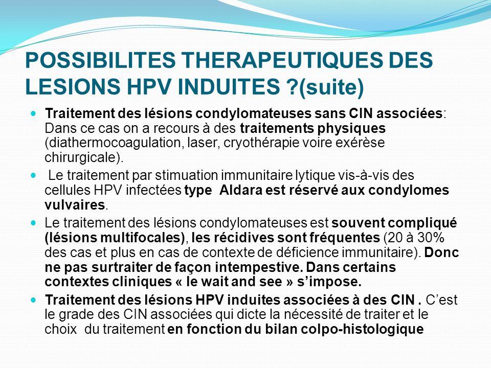 POSSIBILITES THERAPEUTIQUES DES LESIONS HPV INDUITES ?(suite) Traitement des lésions condylomateuses sans CIN associées: Dans ce cas on a recours à de